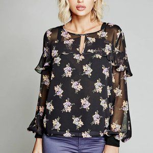 Marciano Black Floral Print Blouse